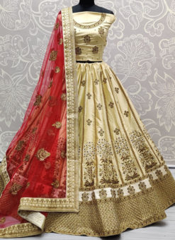 Beige Silk Embroidered Work Designer Bridal Lehenga Choli