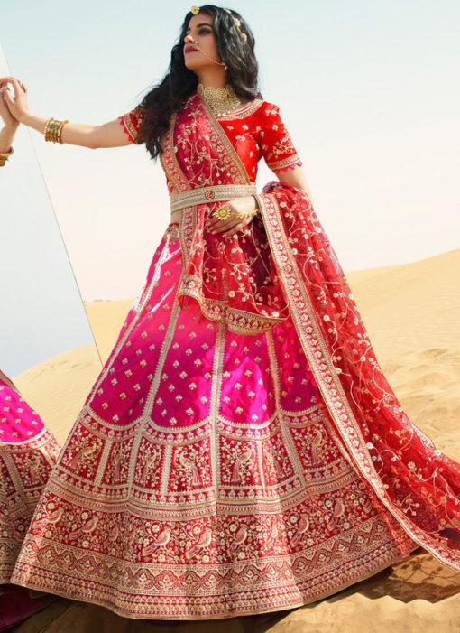 Red And Rani Satin Wedding Embroidered Work Designer Lehenga Choli