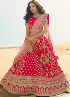 Red Raw Silk Embroidered Work Wedding Designer Lehenga Choli