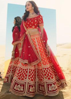 Orange Embroidered Work Designer Sangeet Silk Lehenga Choli
