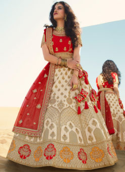 Beige Embroidered Work Designer Wedding Raw Silk Lehenga Choli