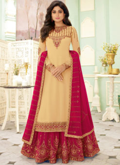 Beige Georgette Embroidered Work Designer Indowestern Lehenga Choli