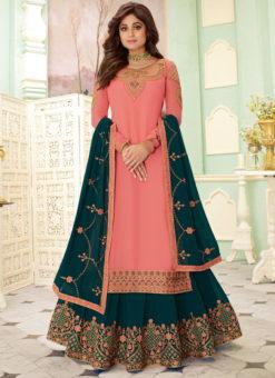 Pink Georgette Embroidered Work Designer Indowestern Lehenga Choli