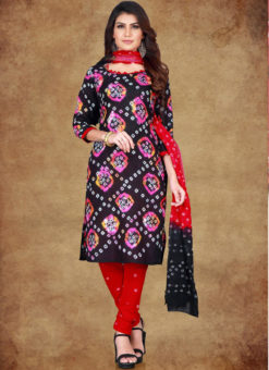 Black Cotton Printed Casual Wear Un-Stitched Dress Material