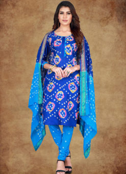 Navy Blue Cotton Printed Casual Wear Un-Stitched Dress Material