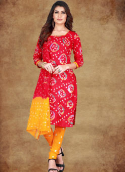 Maroon Cotton Printed Casual Wear Un-Stitched Dress Material