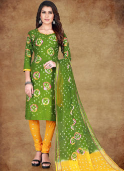 Mahendi Green Cotton Printed Casual Wear Un-Stitched Dress Material