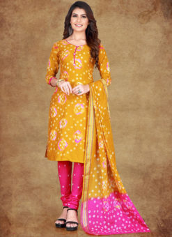 Golden Cotton Printed Casual Wear Un-Stitched Dress Material