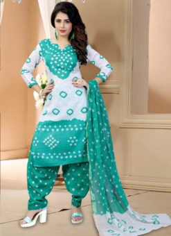 White Cotton Printed Casual Wear Un-Stitched Dress Material