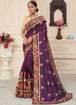 Wine Silk Embroidered Work Designer Sangeet Sandiya Saree