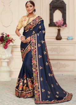 Navy Blue Silk Designer Embroidere Work Mehendi Rassam Saree