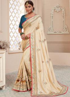 Cream Silk Embroidered Work Traditional Designer Saree