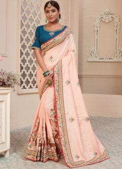 Baby Pink Silk Embroidered Work Party Wear Designer Saree