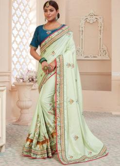 Pista Green Silk Embroidered Work Designer Party Wear Saree