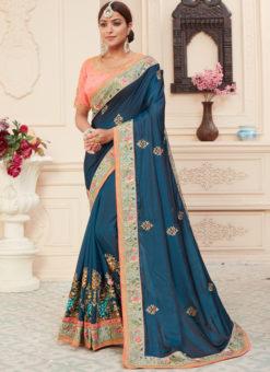 Blue Silk Embroidered Work Designer Sangeet Sandhiya Saree