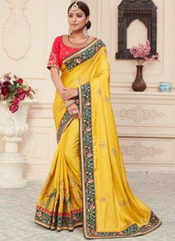 Yellow Silk Embroidered Work Designer Haldi Rassam Saree