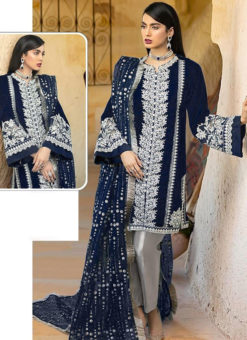 Navy Blue Georgette Sequance Work Designer Pakistani Suit