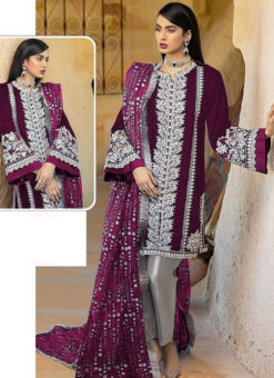 Wine Georgette Sequance Work Designer Pakistani Suit