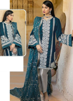 Aqua Blue Georgette Sequance Work Designer Pakistani Suit
