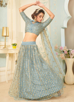 Grey Net Sequance Designer Party Wear Lehenga Choli