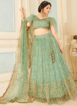 Sea Green Net Sequance Designer Party Wear Lehenga Choli