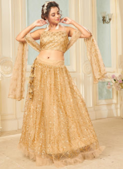 Golden Net Sequance Designer Party Wear Lehenga Choli