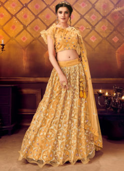 Designer Sequance Work Party Wear Orange Lehenga Choli