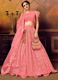 Designer Sequance Work Party Wear Pink Lehenga Choli