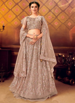 Designer Sequance Work Party Wear Grey Lehenga Choli