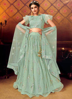 Designer Sequance Work Party Wear Sea Green Lehenga Choli