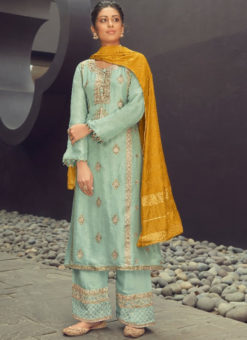 Karma Sea Green Silk Jacquard Embroidered Work Designer Pakistani Suit
