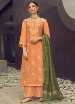 Karma Orange Silk Jacquard Embroidered Work Designer Pakistani Suit