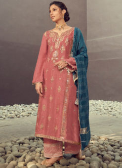 Karma Wine Silk Jacquard Embroidered Work Designer Pakistani Suit