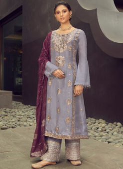 Karma Grey Silk Jacquard Embroidered Work Designer Pakistani Suit