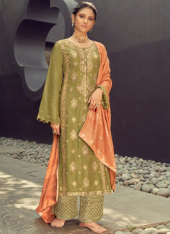 Karma Green Silk Jacquard Embroidered Work Designer Pakistani Suit