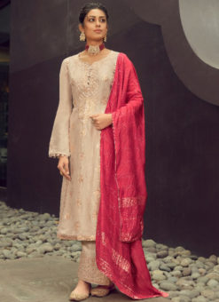 Karma Cream Silk Jacquard Embroidered Work Designer Pakistani Suit