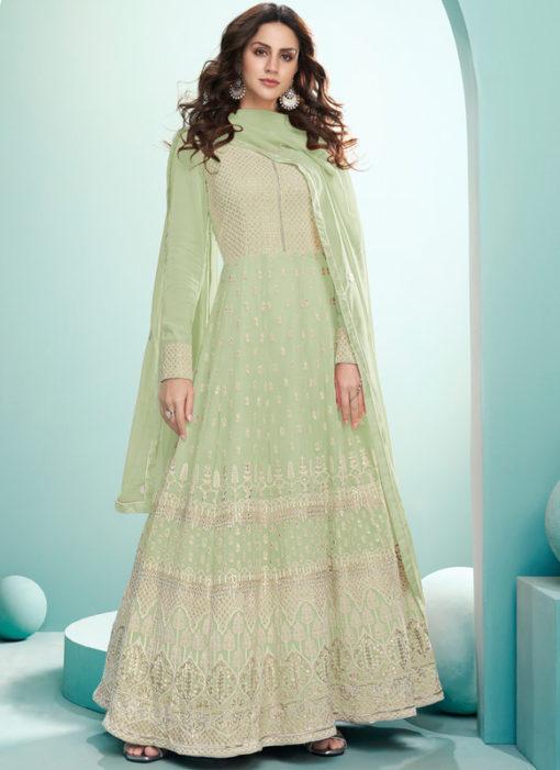 Pista Green Georgette Embroidered Work Designer Floor Length Anarkali Suit