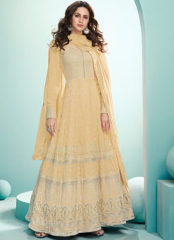 Yellow Embroidered Work Designer Georgette Floor Lengeth Anarkali Suit