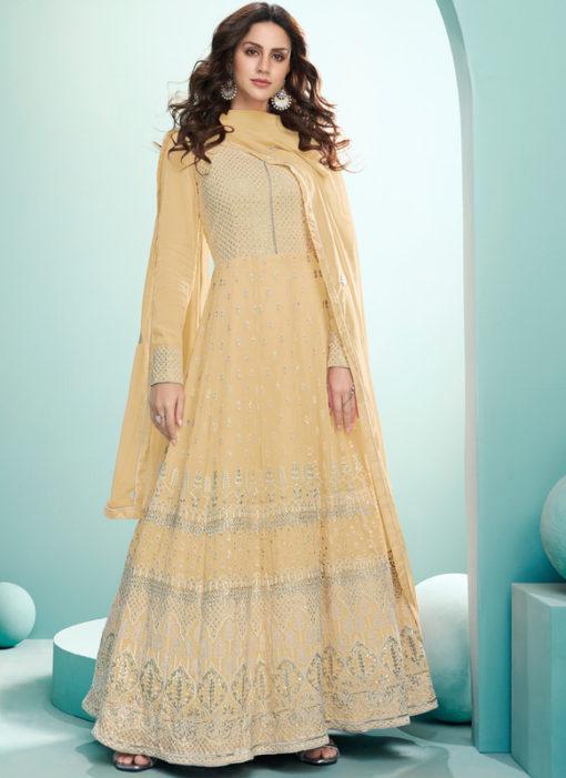 Yellow Embroidered Work Designer Georgette Floor Lengeth Anarkali Suit