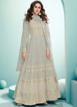 Grey Embroidered Work Georgette Designer Floor Length Anarkali Suit