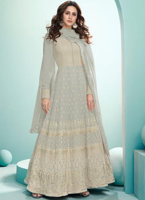 Grey Embroidered Work Georgette Designer Floor Length Anarkali Suit