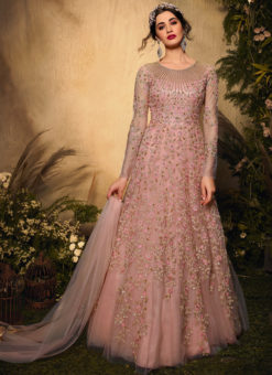 Pinkish Net Glitter Work Designer Reception Anarkali Suit
