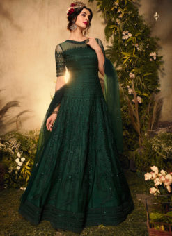 Green Net Designer Embroidered Work Reception Anarkali Suit