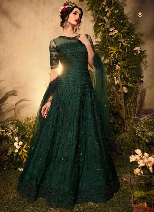 Green Net Designer Embroidered Work Reception Anarkali Suit