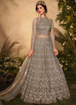 Light Brown Net Embroidered Work Designer Reception Anarkali Suit