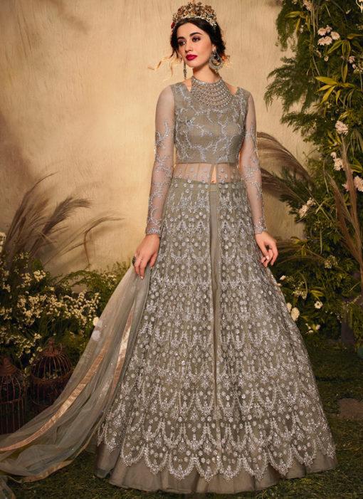 Light Brown Net Embroidered Work Designer Reception Anarkali Suit