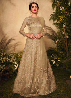 Golden Designer Net Glitter Work Reception Anarkali Suit