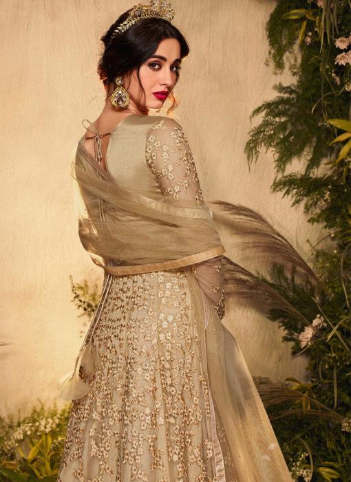 Golden Designer Net Glitter Work Reception Anarkali Suit