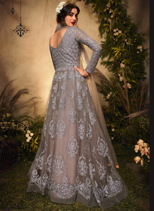 Grey Embroidered Work Designer Reception Net Anarkali Suit