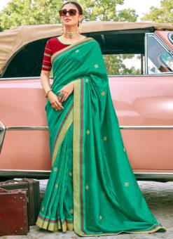 Designer Green Georgette Embroidered Work Party Wear Saree